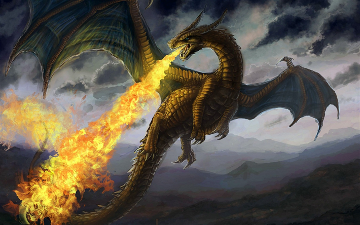 Download Wallpapers Fire Breathing Dragon Art Flying