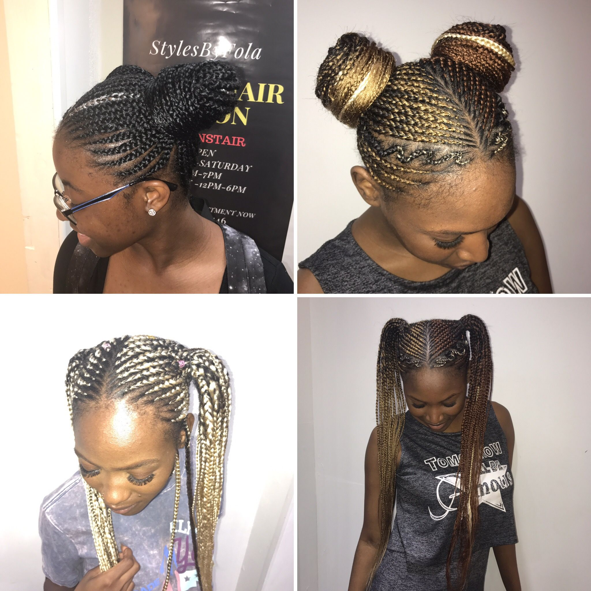 Two Bun Ponytail Cornrow Afrosalonlondon Stylesbyfola Ponytail Braid Styles Braids For Long Hair Ponytail Styles
