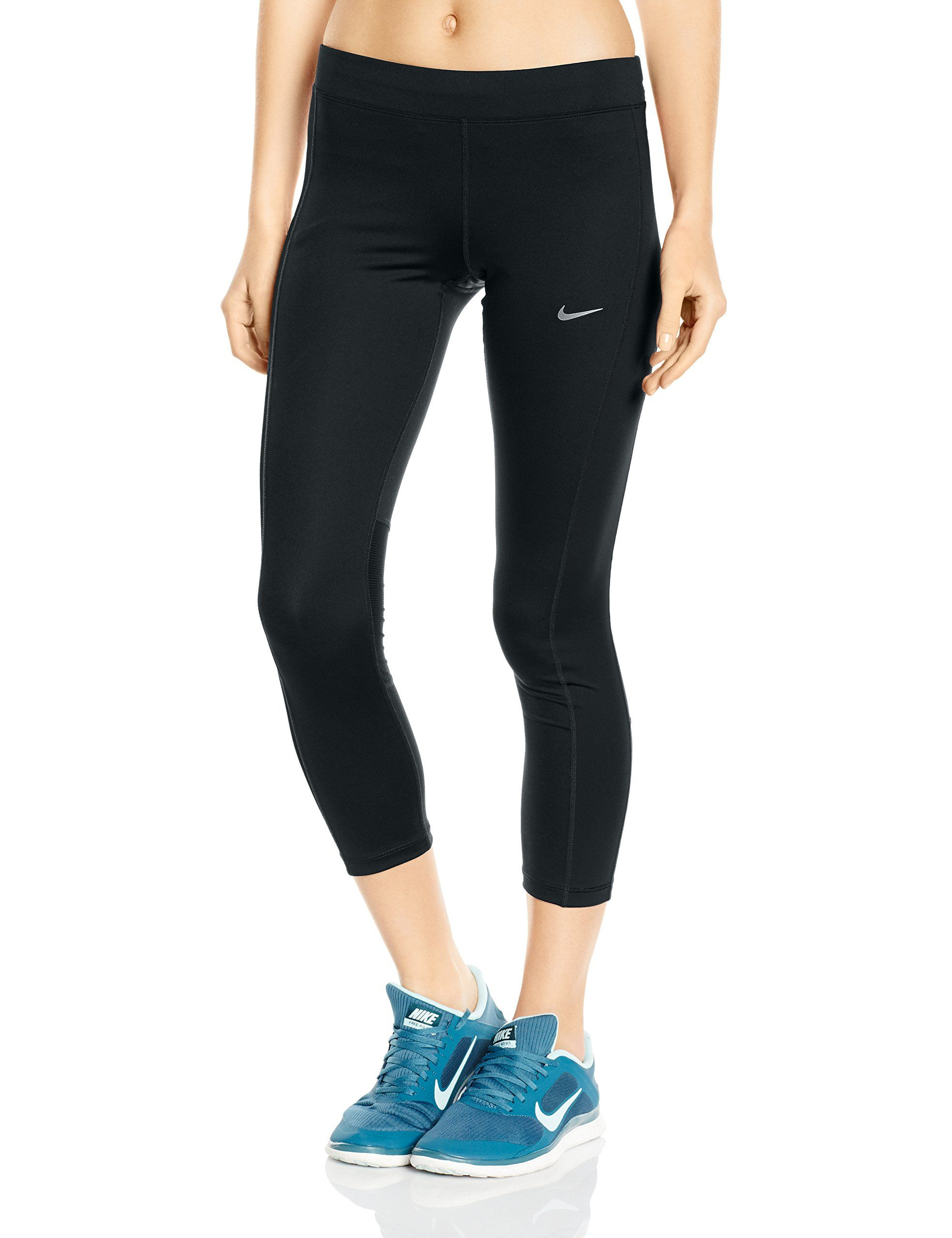 aaa11a8cb9bc Nike Women's Essential Running Crop, Black/Black/Reflective Silver, Large.  Waistband