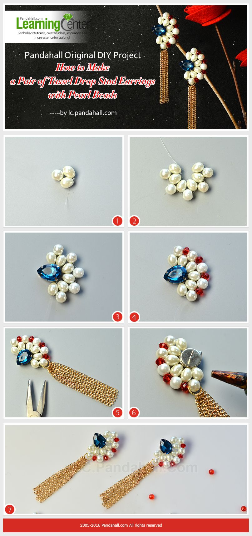 Pearl Bead Tassel Drop Stud Earrings