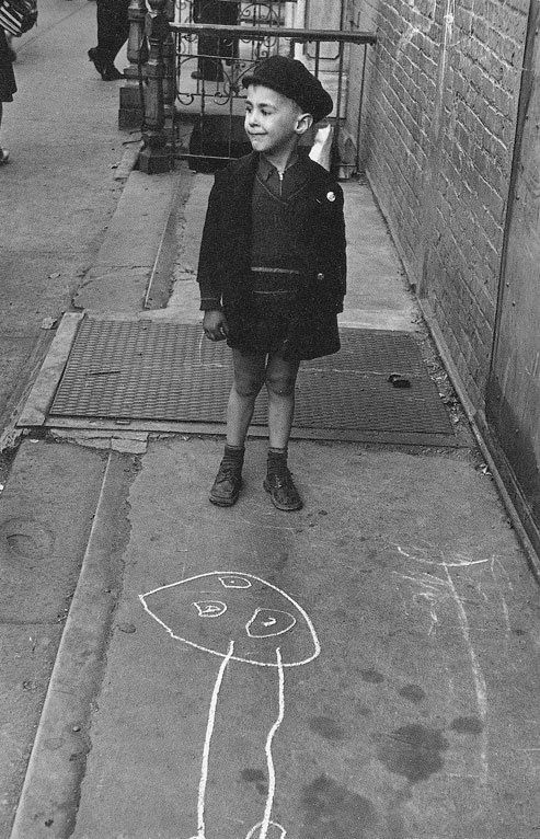 The Chalking Kids of New York: Photo - Helen Levitt (1938-1948). Artists have long realized that 'primitive' child art contains a special jewel; a link to our cave dwelling origins long before our sophisticated notions of society, culture or aesthetics. A reason perhaps why artists like Picasso and others have spent their entire lives relearning how to draw 'child-like'.  An adult who can draw like a child but conveys a mature idea is very gifted indeed.