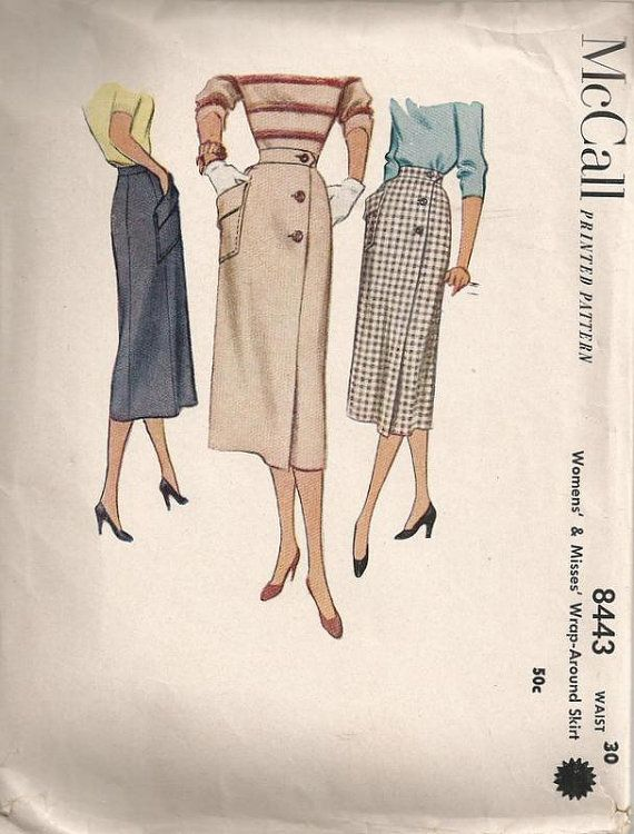 50s Wrap Around Skirt Sewing Pattern McCalls 8443 Waist Size 30 | Crafts
