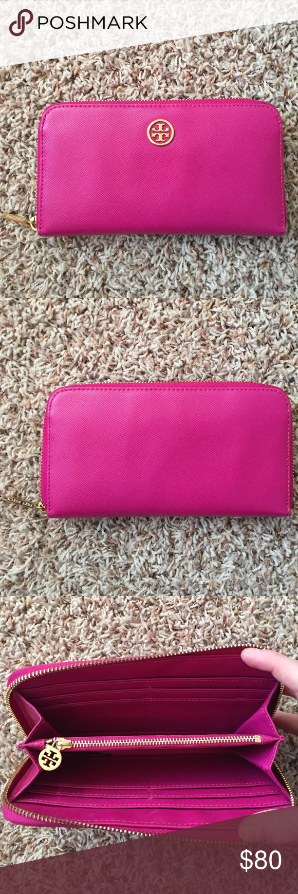 Tory Burch Wallet Magenta Tory Burch wallet. Eight card slots. Two large side pockets for cash. One center pocket with zip for coin. Great condition. Tory Burch Bags Wallets