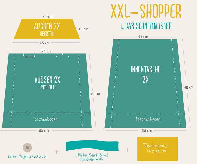 lybstes xxl tasche schnittmuster kostenlos shopper. Black Bedroom Furniture Sets. Home Design Ideas