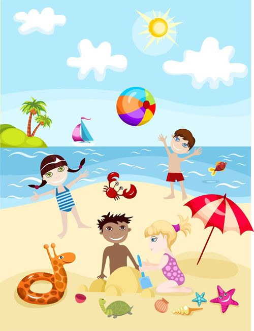 free vector cartoon kids summer 02 vector graphic available for free download at 4vectorcom - Download Cartoons For Kids