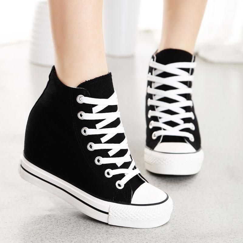 Womens Athletic Hollow Lace up Hidden wedge Sneakers Preppy Lesiure Casual Shoes
