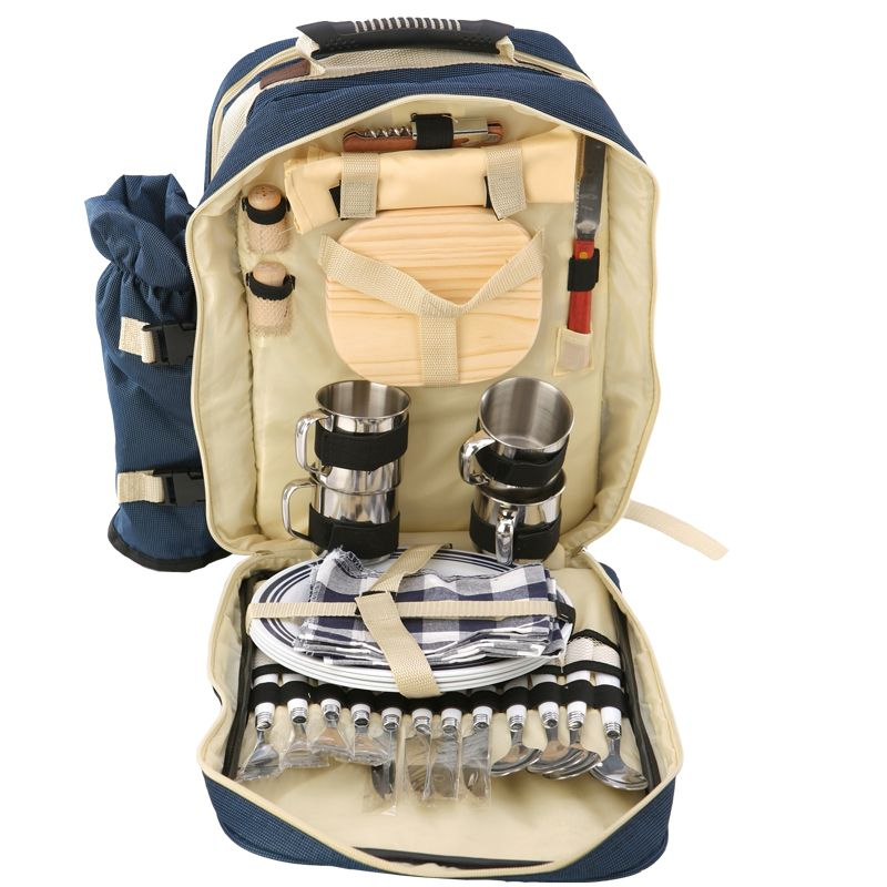 Outdoor 4 Persons Picnic Backapck Rucksack Portable Camping Bbq Lunch Bag With Tableware Set Camping Bbq Sac Pique Nique Sac