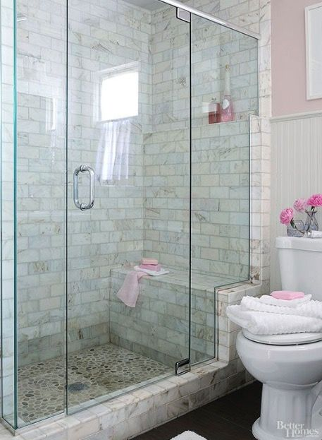 Tiled Walk In Shower With Large Bench And Glass Door Wall Glass