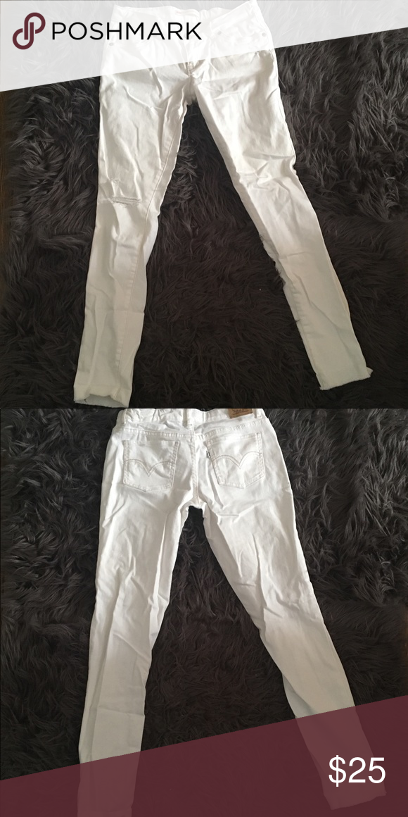 5745d85f3b0 LEVI'S 710 Ankle Super Skinny Jeans Levi's 710 Ankle Super Skinny white distressed  jeans. Great condition Youth- girls 16 regular FYI: All distressing on ...