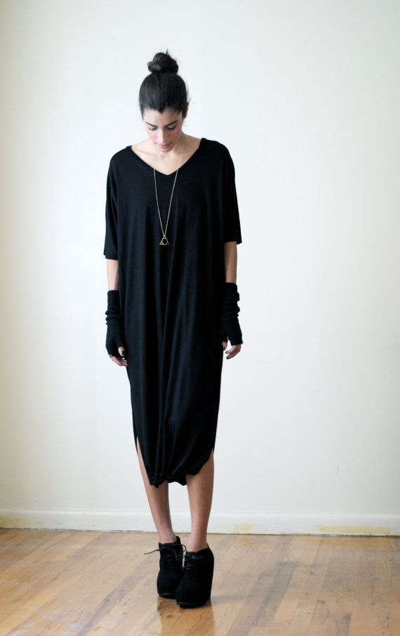 2cf0df4b5b Loose Tunic Dress   Oversized Midi   Maternity Dress   Black Dress ...