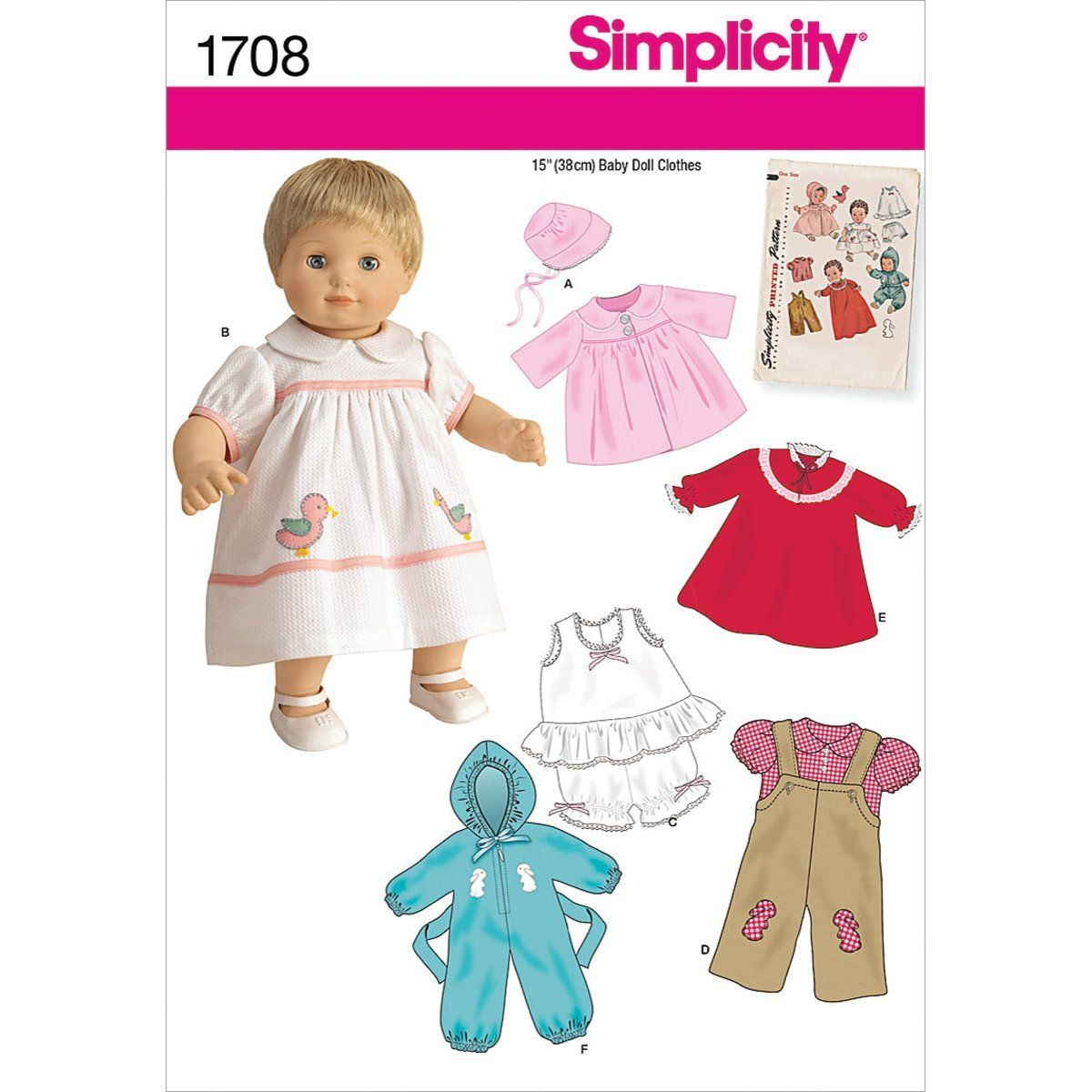 Simplicity Muster 1708. OS 15 Zoll One Size Baby Puppe Kleidung ...