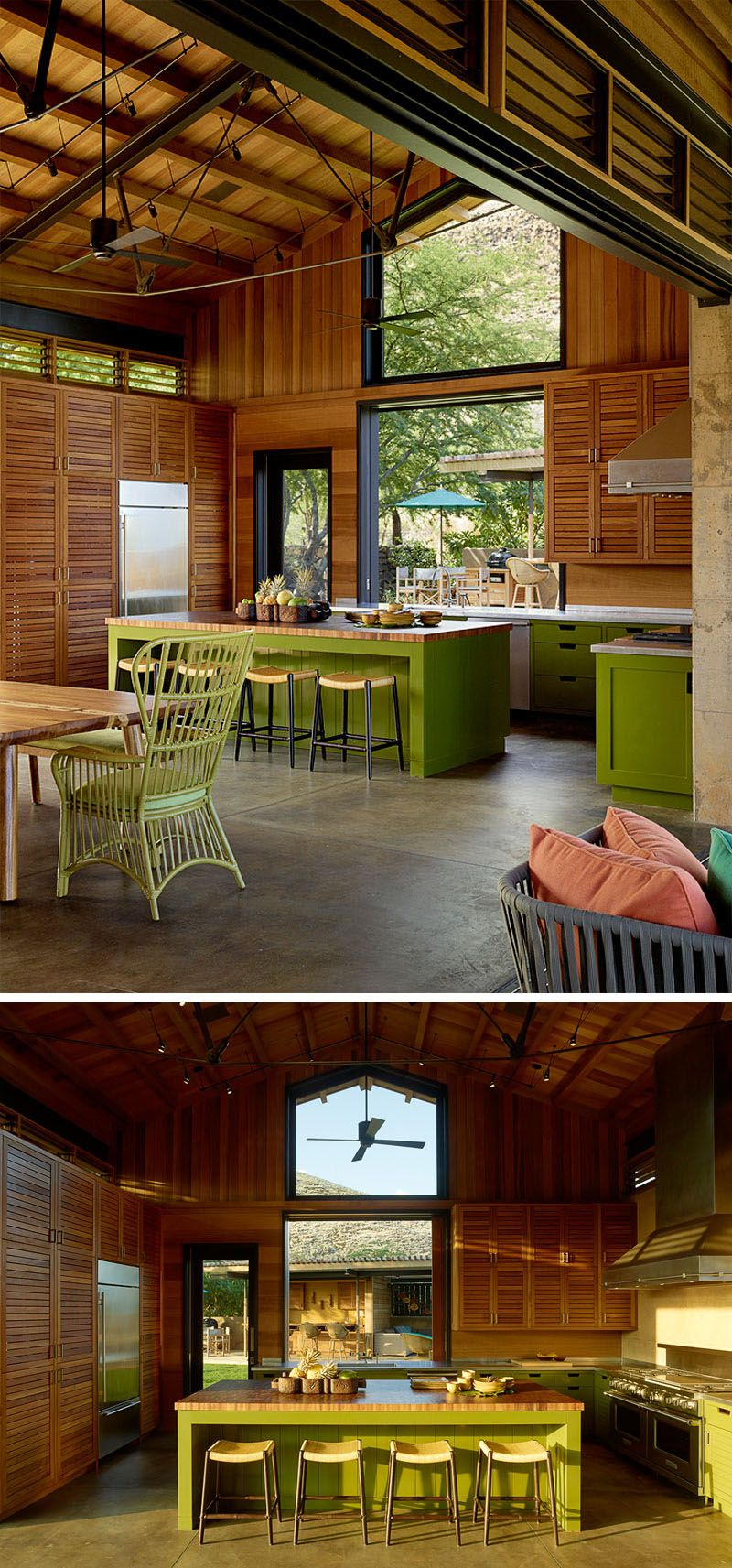In this contemporary kitchen green cabinets add a pop of color while large windows provide ample natural light and let views of the other nearby gathering