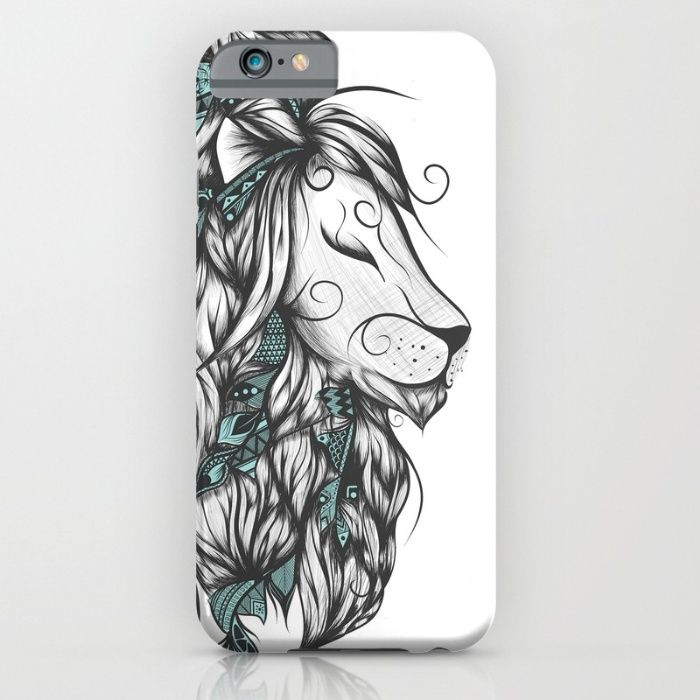 Poetic Lion Turquoise iPhone & iPod Case #art #loujah #society6 #iphonecase #mobilecases