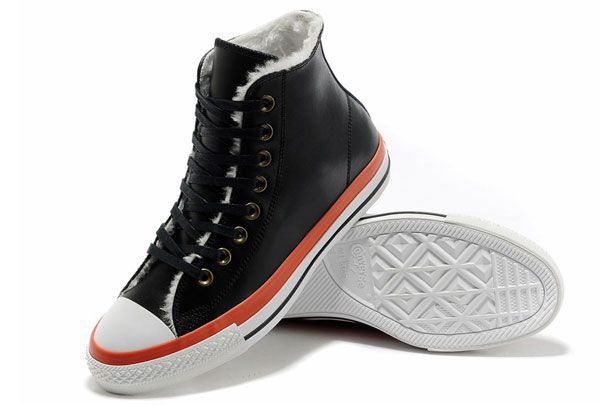 Black Orange Leather Converse Winter Boots Soft Nap Shearling Chuck Taylor All  Star High Tops  converse  shoes 7fbc5f107