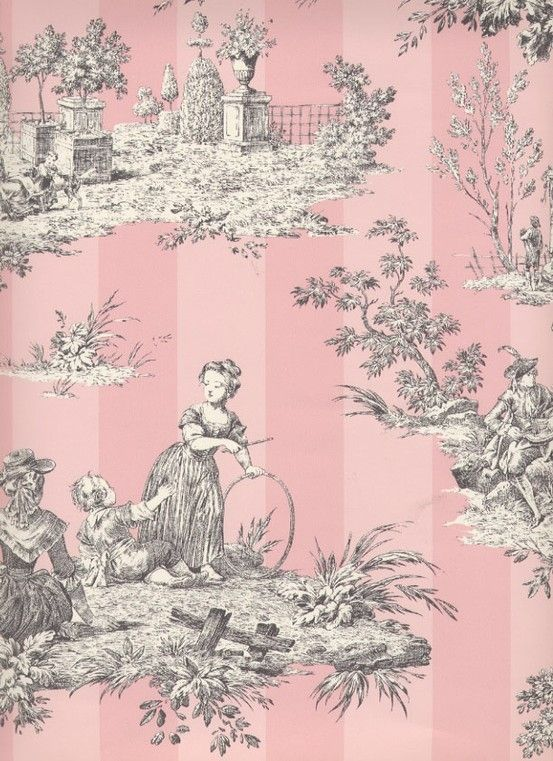 I Absolutely Love The Pink Toile Wallpaper Toile Wallpaper Wallpaper Toile Pattern