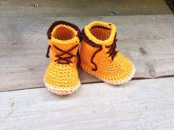 42d7ad777ecb5 Crochet Construction boots. Baby Work Boots. Crochet Work Boots ...
