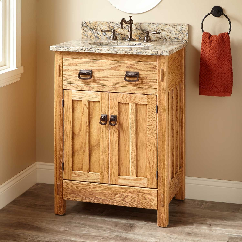 24 Narrow Depth Mission Hardwood Vanity For Undermount Sink