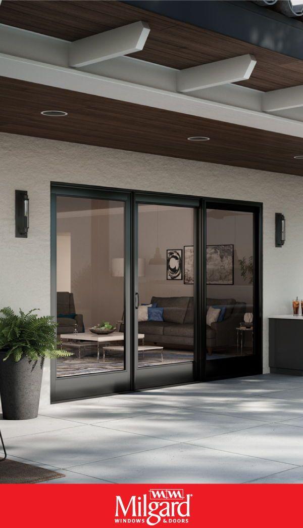 Black sliding French-style patio doors