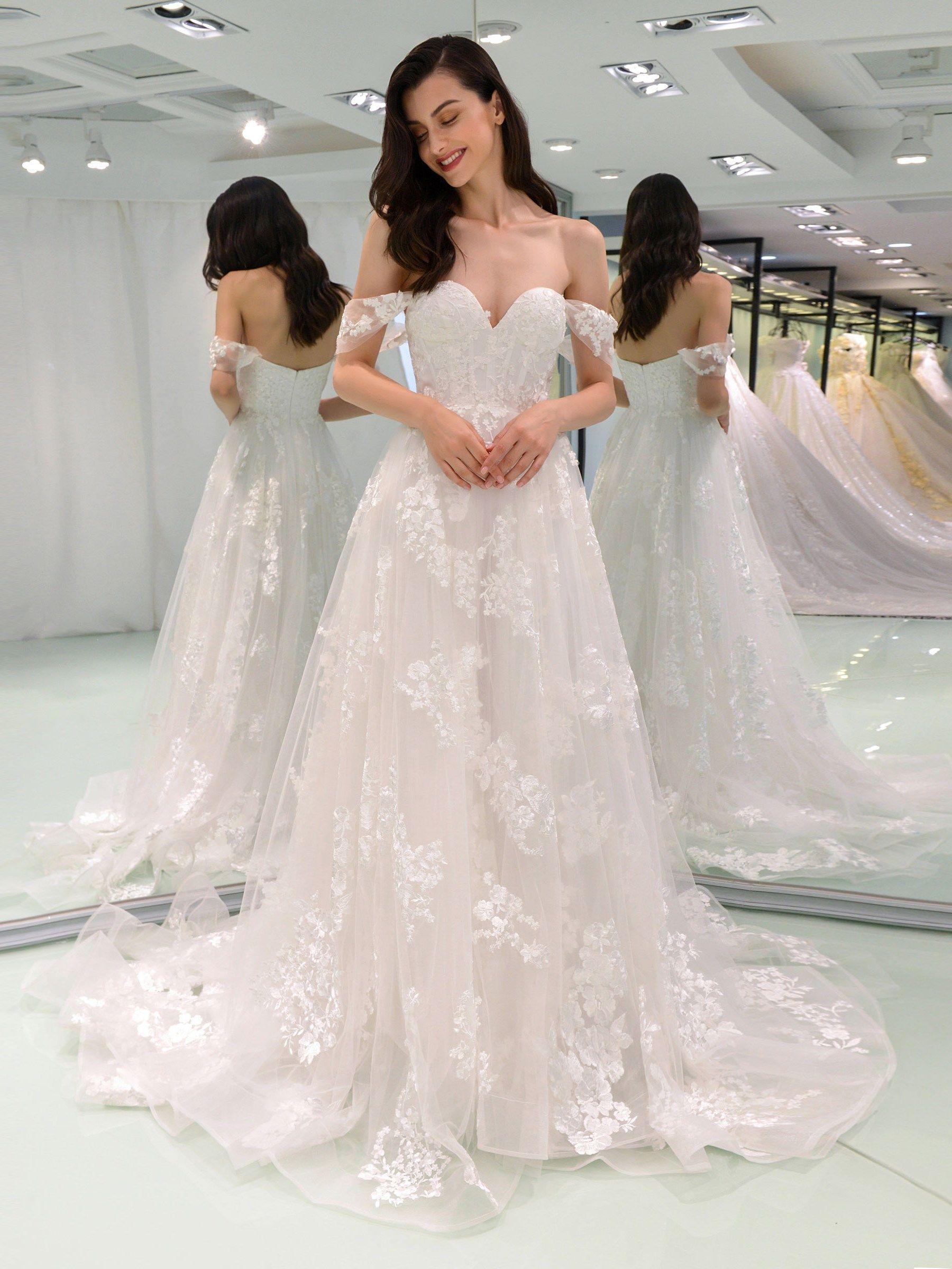 Aline off the shoulder appliques wedding dress in future mrs