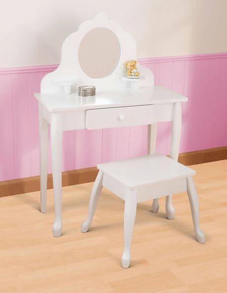 Mirrored Vanity Table And Stool: Medium Diva Vanity Table & Stool