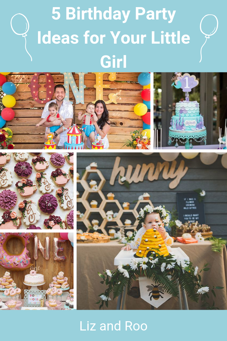 5 Birthday Party Ideas For Your Little Girl Liz And Roo Fun Birthday Party 5th Birthday Party Ideas Donut Birthday Party Invitations