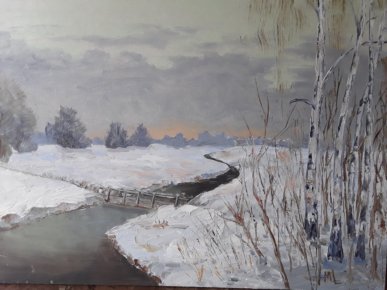 Winter Landscape Birch Grove Painting Original Oil Etsy Winter Landscape Landscape Art Landscape