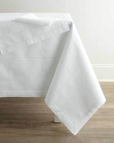"-6HCE   Block Hemstitch Tablecloth, 72"" x 108"" Block Hemstitch Tablecloth, 72"" x…"