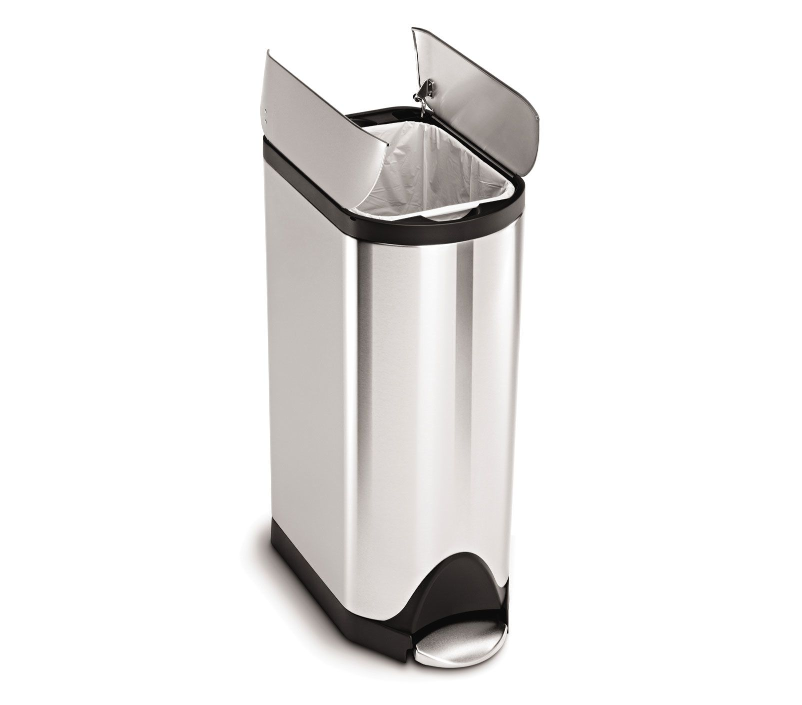 Simplehuman 30l Butterfly Step Trash Can Brushed Stainless Steel In 2021 Simplehuman Trash Can Brushed Stainless Steel Slim stainless steel trash can