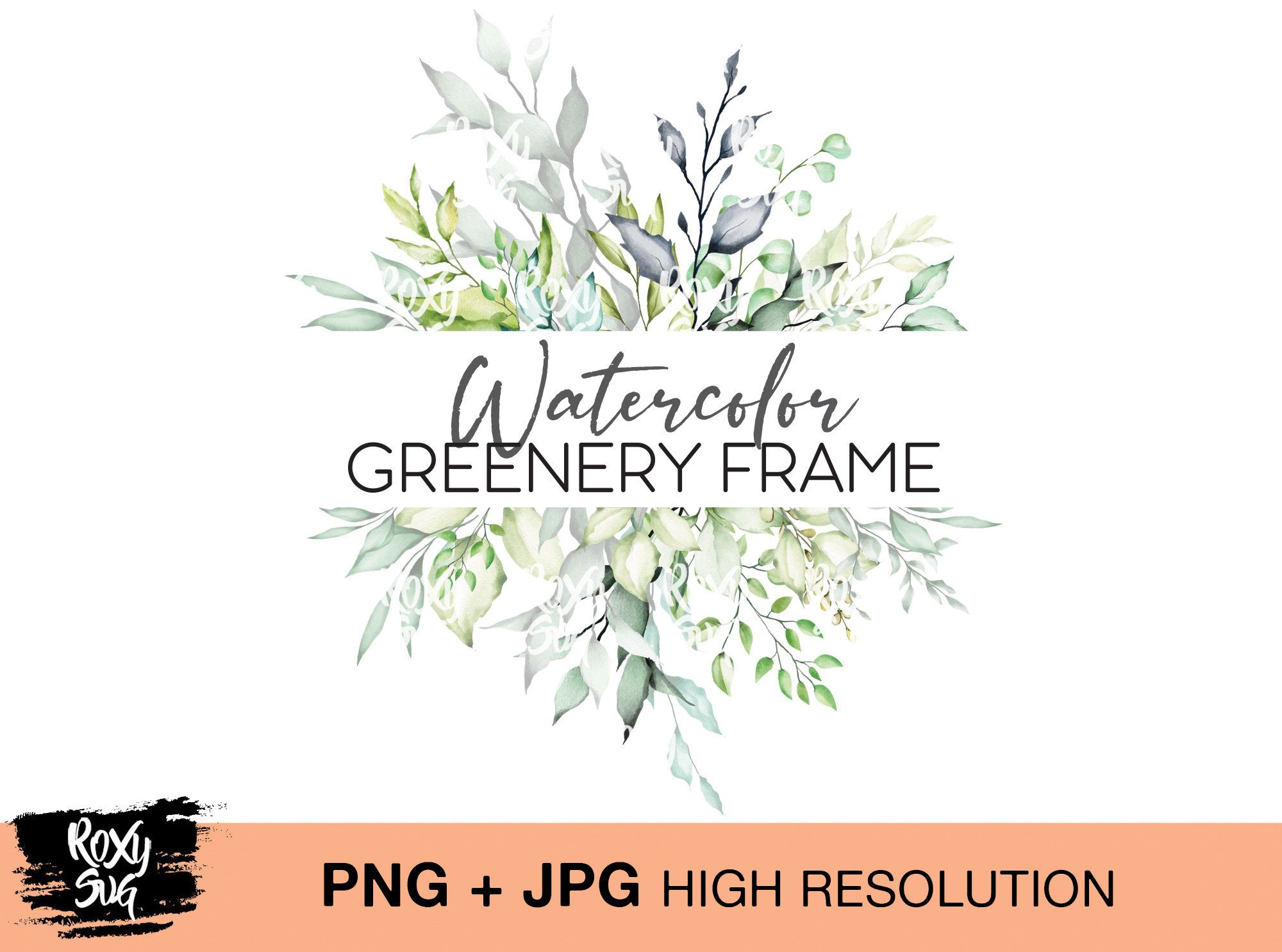 Greenery Watercolor Png Foliage Green Leaves Floral Florals Etsy Wedding Invitations Boho Flower Painting Wreath Watercolor