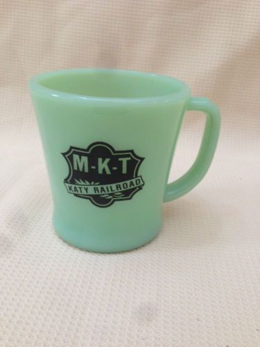 Vintage M K T Katy RailRoad Jadite Fire King Advertising Train Coffee Mug