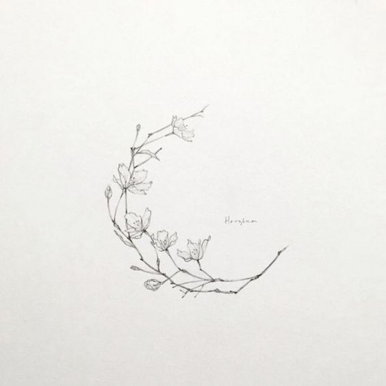 Floral Moon Tattoo Art Magnolia Tattoo Blossom Tattoo Tattoos