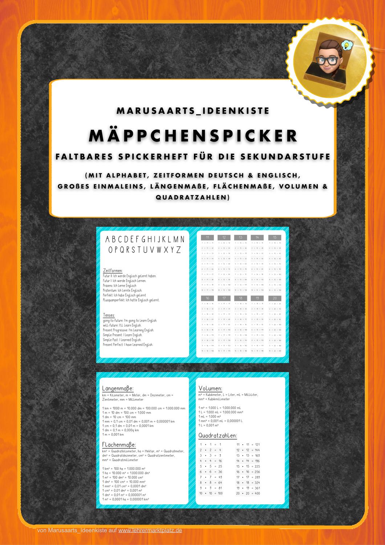 Mappchenspicker Sekundarstufe Unterrichtsmaterial In Den Fachern Deutsch Mathematik In 2020 Spicker Sekundarstufe Mathematikunterricht