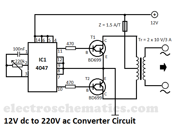 12v To 220v Dc To Ac Converter Circuit Power Supply