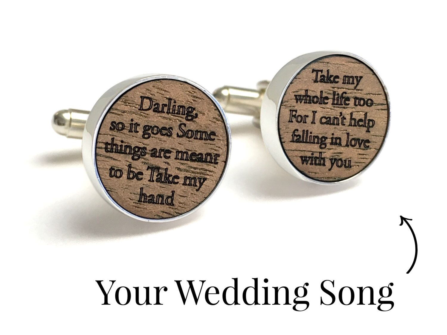 e71639b690c2 Personalized Cufflinks with Song Lyrics   Wood Anniversary Gift   5th  Anniversary Gift for Him