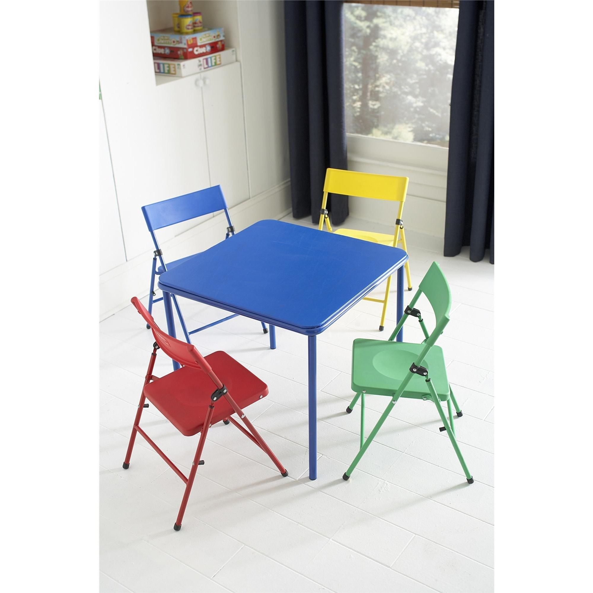 - Cosco Kid's 5-piece Colored Folding Chair And Table Set (Red