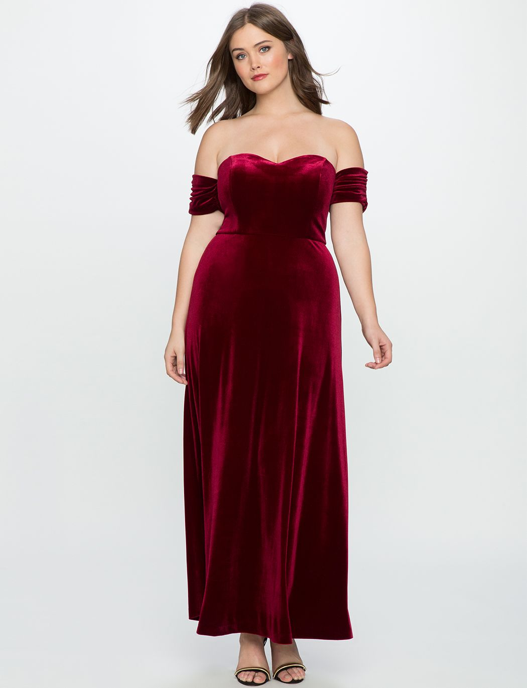 Velvet off the shoulder gown wine curvy style pinterest gowns