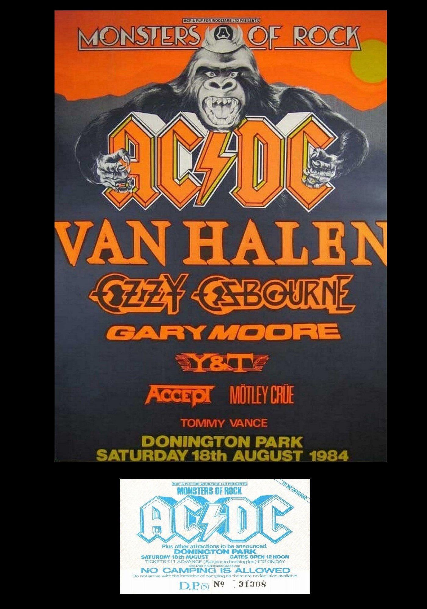 Monsters Of Rock 1984 Vintage Poster Ticket Donington Park Uk 1984 In 2020 Vintage Concert Posters Concert Posters Music Concert Posters