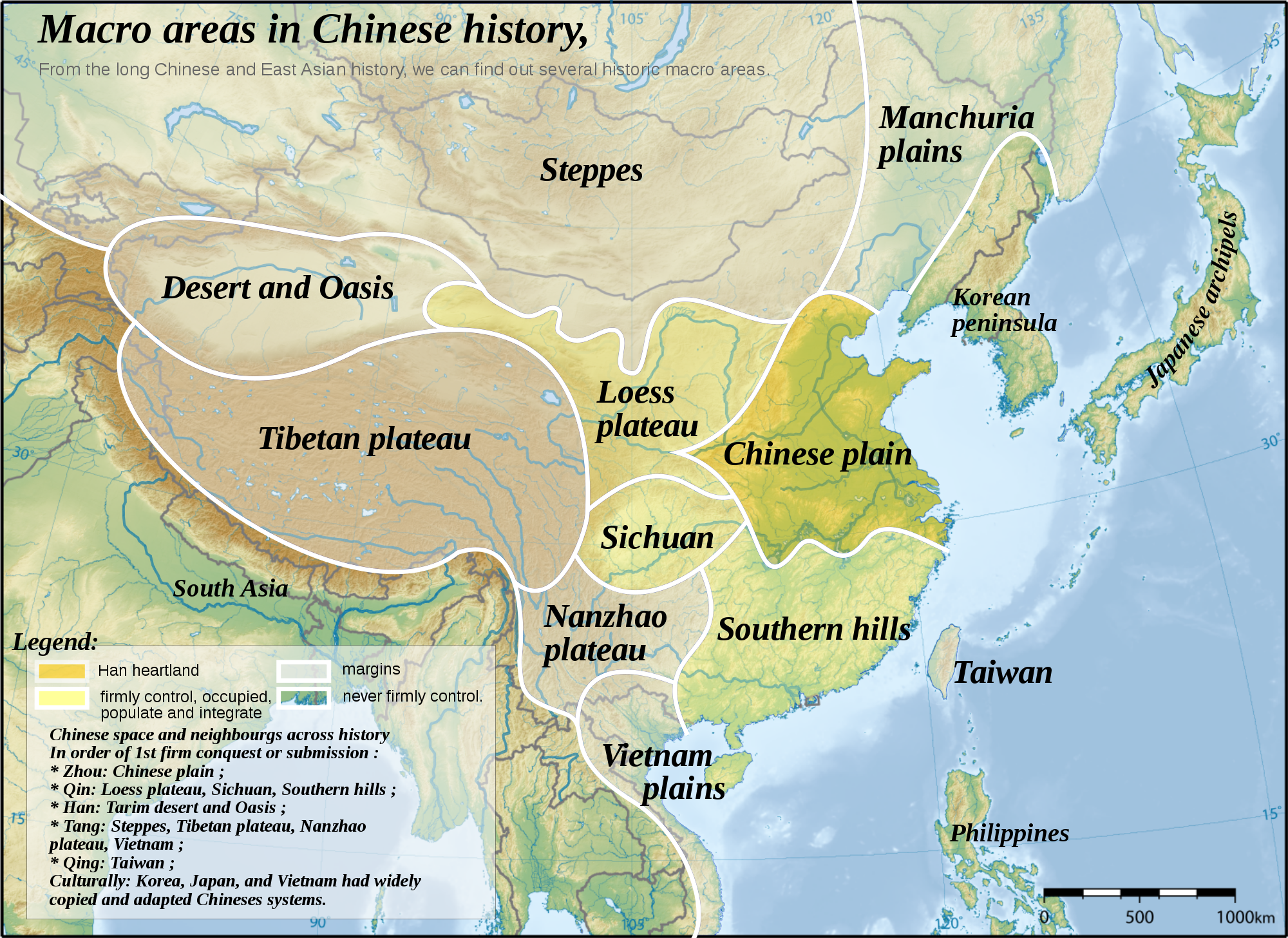 Topographic map of East Asia, with historical areas and ... on latitude map of vietnam, relief map of vietnam, climate map of vietnam, population density map of vietnam,