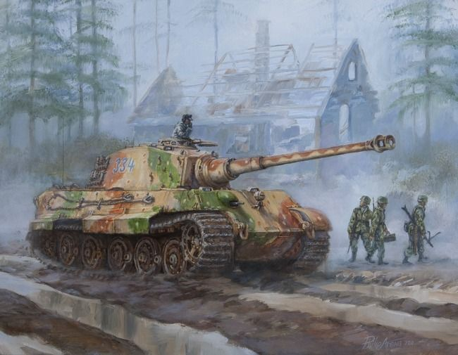 Painting of World War II German King Tiger tank in the