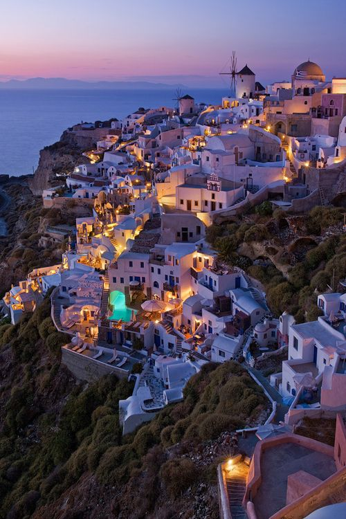 Santorini, Greece at night. So amazing! I wish to go here. Someday.