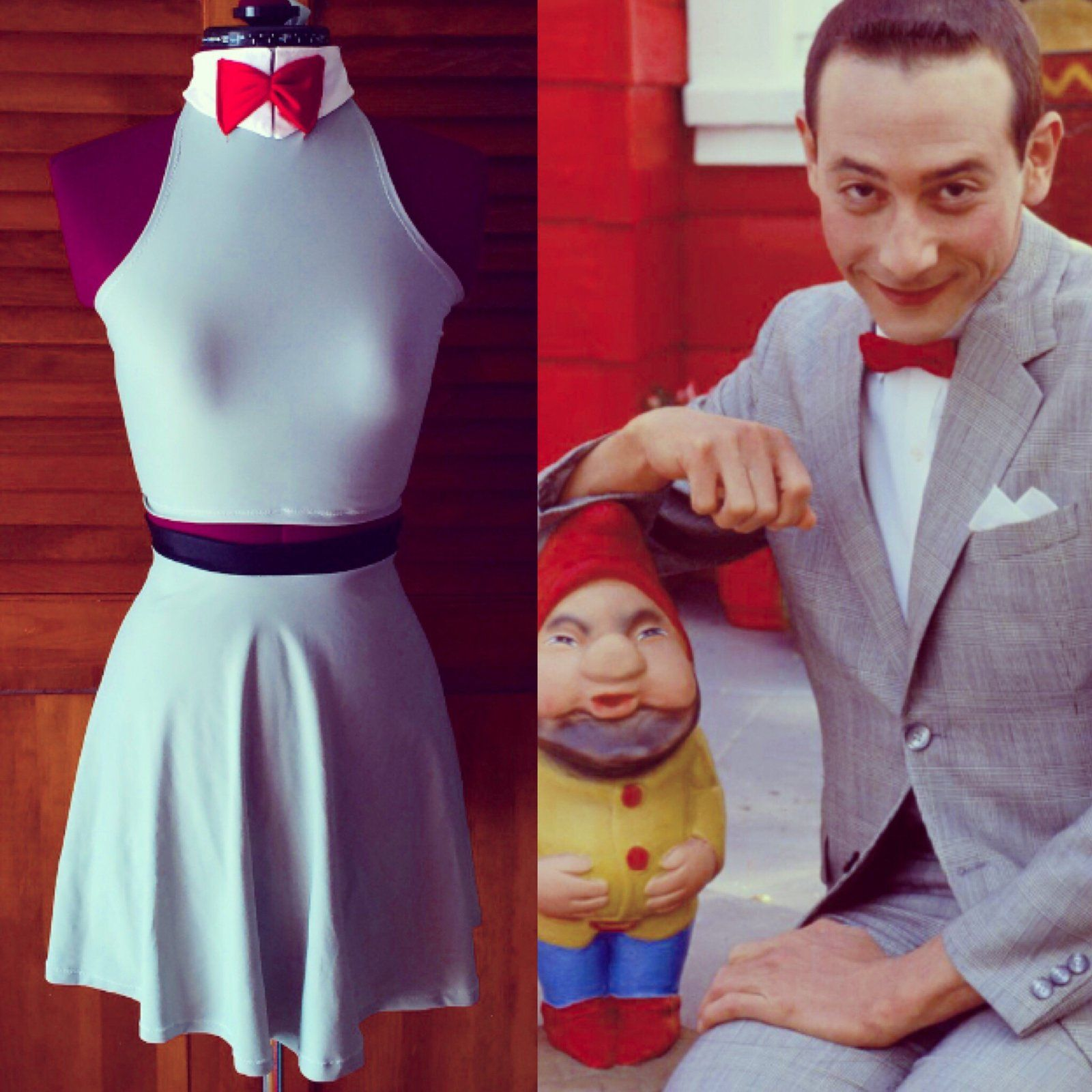 If pee wee Herman could be a girl for 1 day This is what he would wear and now you can wear it all the time and be a loner A REBEL! This set is made from soft stretch gray spandex The top has a white collar with a red bow the back is a halter style so it give a dash of sexy the skirt is a skater skirt stye with a black band around the waist to beak up all the grey and give a cute belt effect