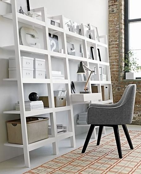 The Sawyer White Leaning Desk Uses An Ingenious Leaning Modular Design To Creatively Solve Storage Solutions Throughout Leaning Desk Bookcase Shelves Bookcase