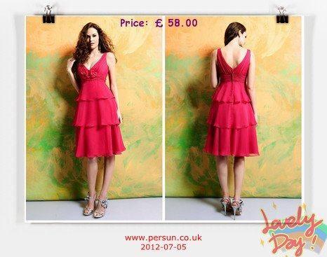 Chiffon V-neck Ruched Ruffle Knee Length Bridesmaid Dress