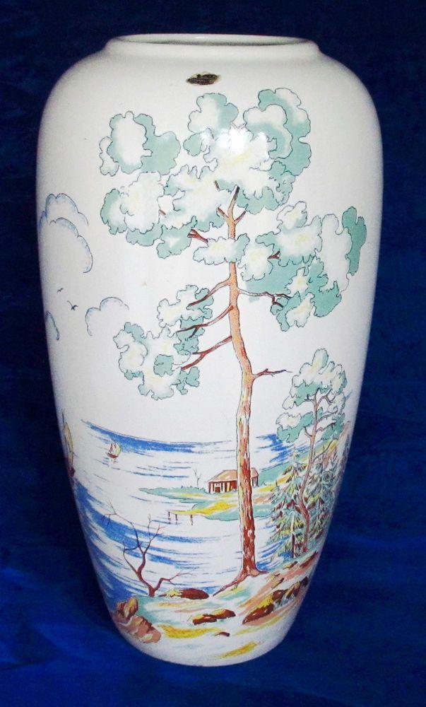 Vase Bodenvase Jasba Keramik Vintage Landschaft am See 40 cm hoch  | eBay