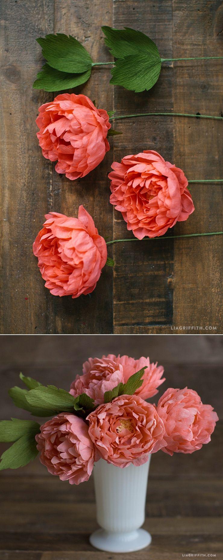 Crepe Paper Sarah Peonies #paperflowers