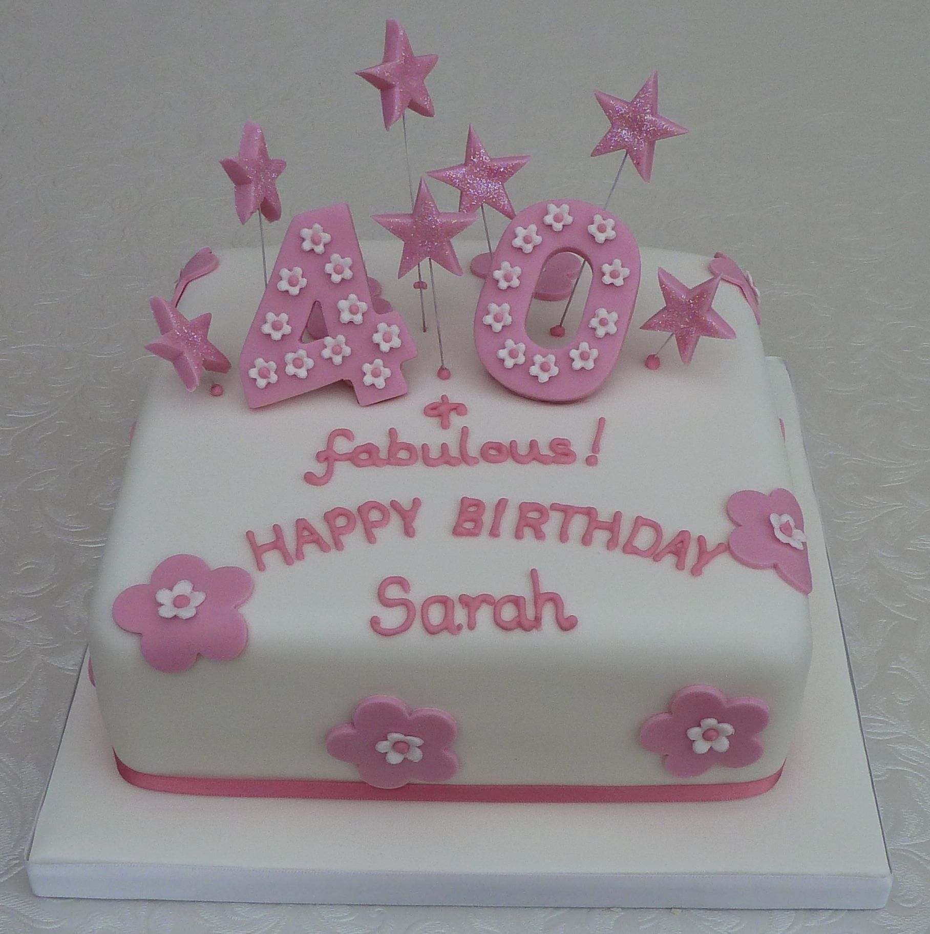 Girly Pink 40th Birthday Cake from wwwcakesbykitcouk Cakes by