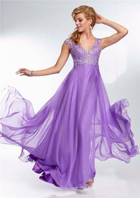 Elegant A Line V Neck Backless Long Lavender Purple Beading Prom Dress Open  Back 4e9503551713