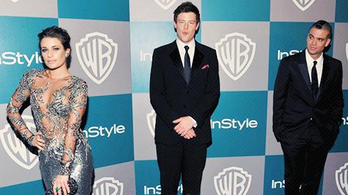 Mark Salling, Lea Michele and Cory Monteith attend the Golden Globe Awards After Party on January 15, 2012 in Beverly Hills