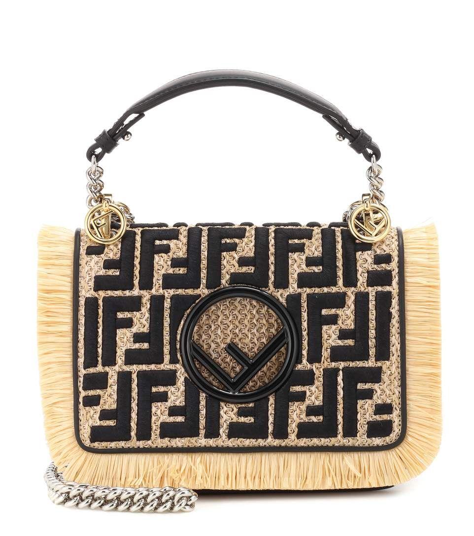 2c06288ccab6 Fendi Kan I F Small raffia shoulder bag Best Designer Bags