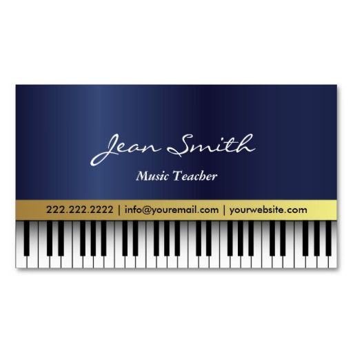 Music Teacher Royal Blue Piano Keys Elegant Business Card Zazzle Com Music Business Cards Teacher Business Cards Musician Business Card